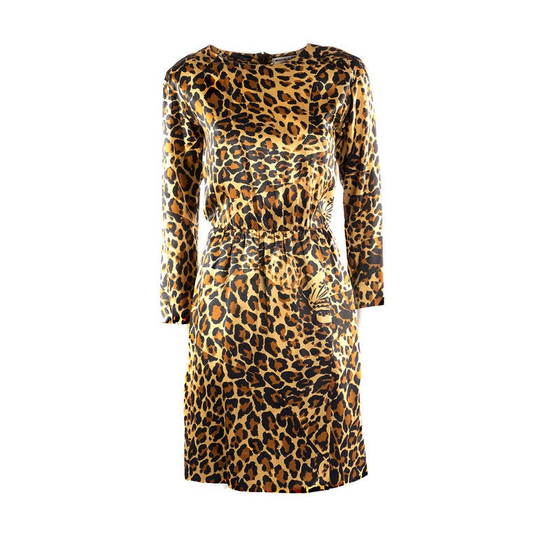 Saint Laurent Rive Gauche Leopard Print Silk Dress 1