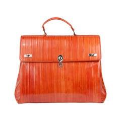 Trussardi Limited Edition Orange Eel Maxi Bag