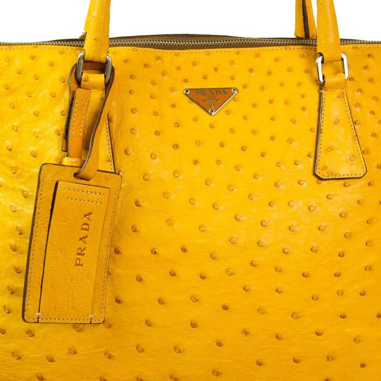 Orange Prada Ochre Real Ostrich Bag For Sale