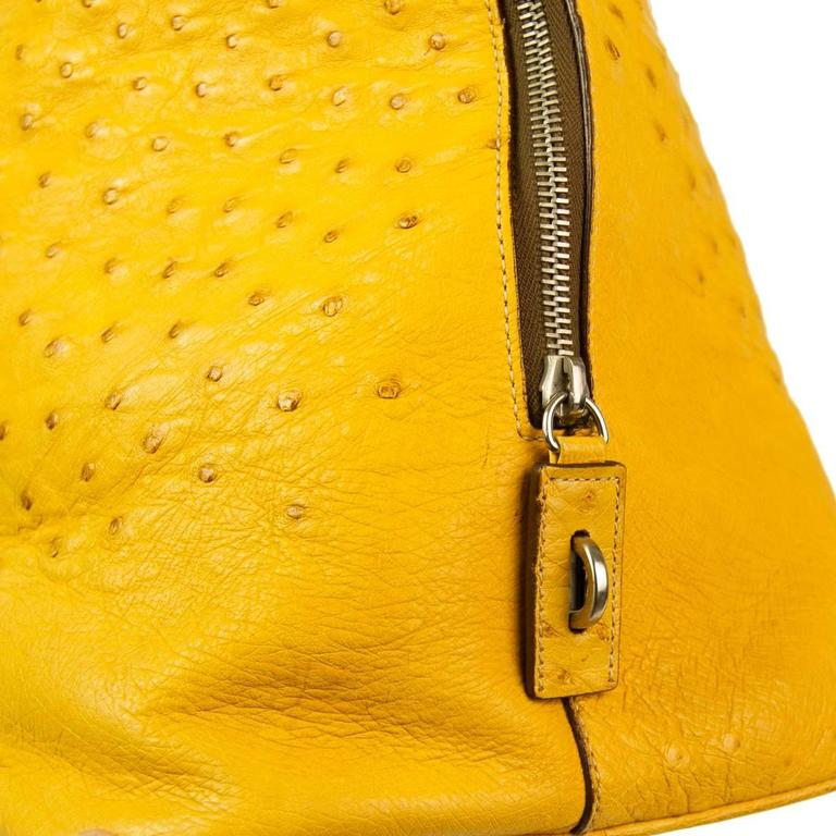 Prada Ochre Real Ostrich Bag In Excellent Condition For Sale In Gazzaniga (BG), IT