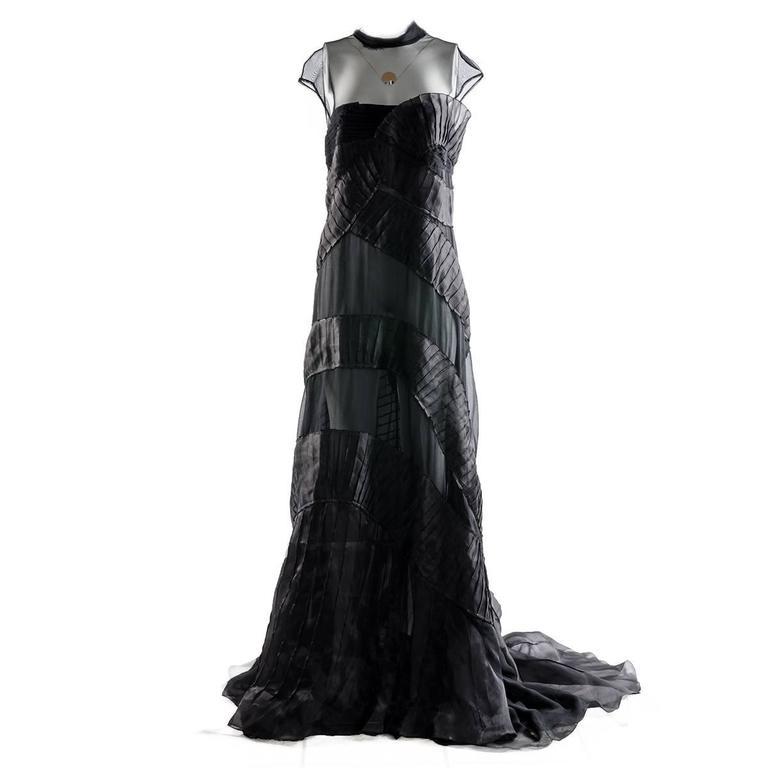 Alberta Ferretti Black Silk and Voile Long Dress
