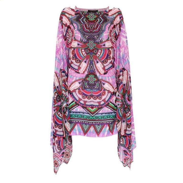 Roberto Cavalli Silk Multicolor Print Dress