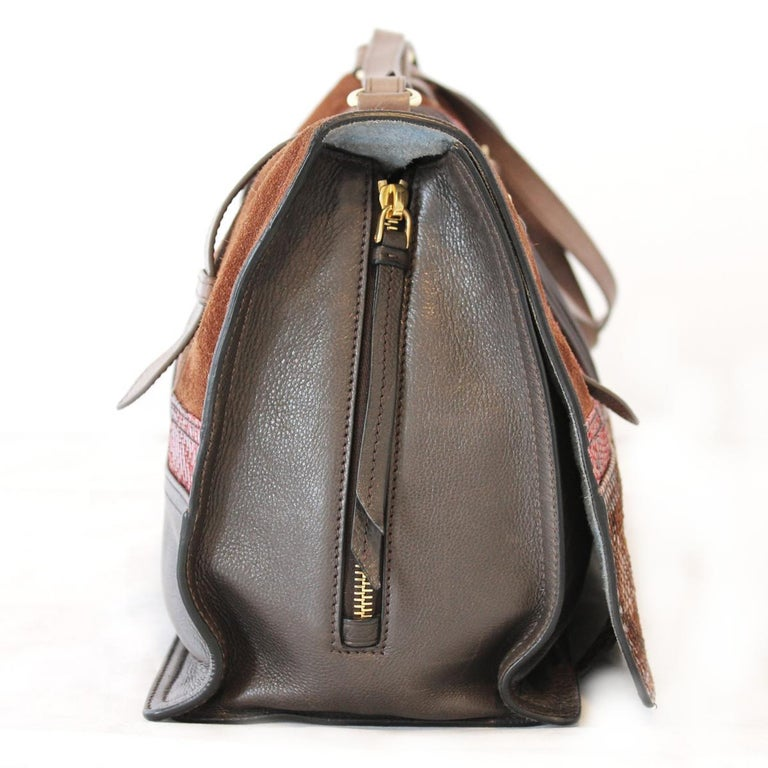 Brown Prada Python and Leather Etiquette Bag For Sale