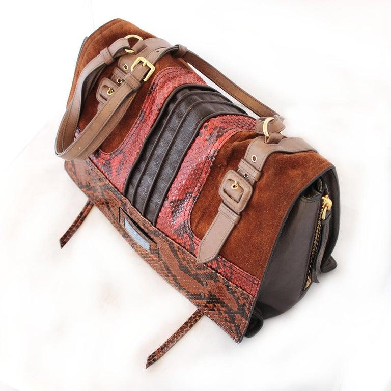 Prada Python and Leather Etiquette Bag In Excellent Condition For Sale In Gazzaniga (BG), IT