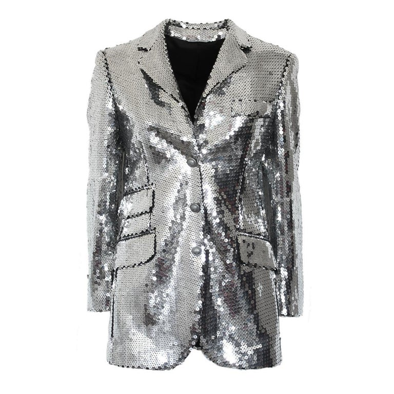 75fc50ce970d4 Moschino Silver Sequins Jacket, 1990s For Sale at 1stdibs