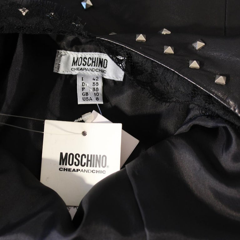 Moschino Vintage Leather Dress, 1990s In New Condition For Sale In Gazzaniga (BG), IT