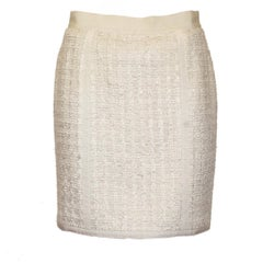 Chanel Cream Wool Skirt 42
