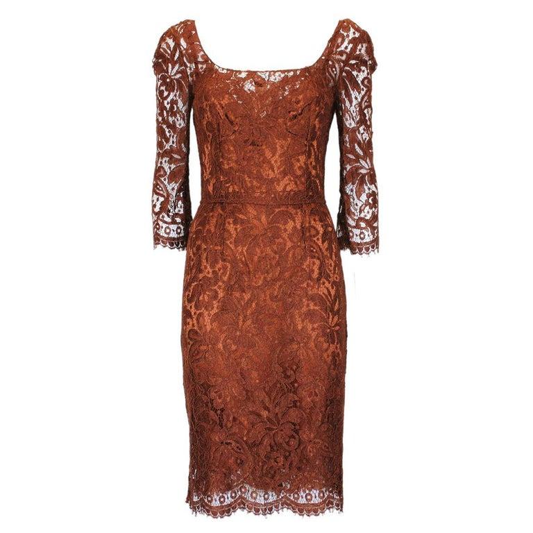Dolce & Gabbana Rust Lace Dress 40