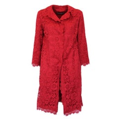 Dolce & Gabbana Special Piece Red Lace Overcoat