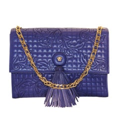 Gianni Versace Blue China Leather Baroque Bag