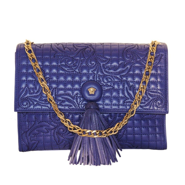 f8e7b4c272 Gianni Versace Blue China Leather Baroque Bag For Sale at 1stdibs