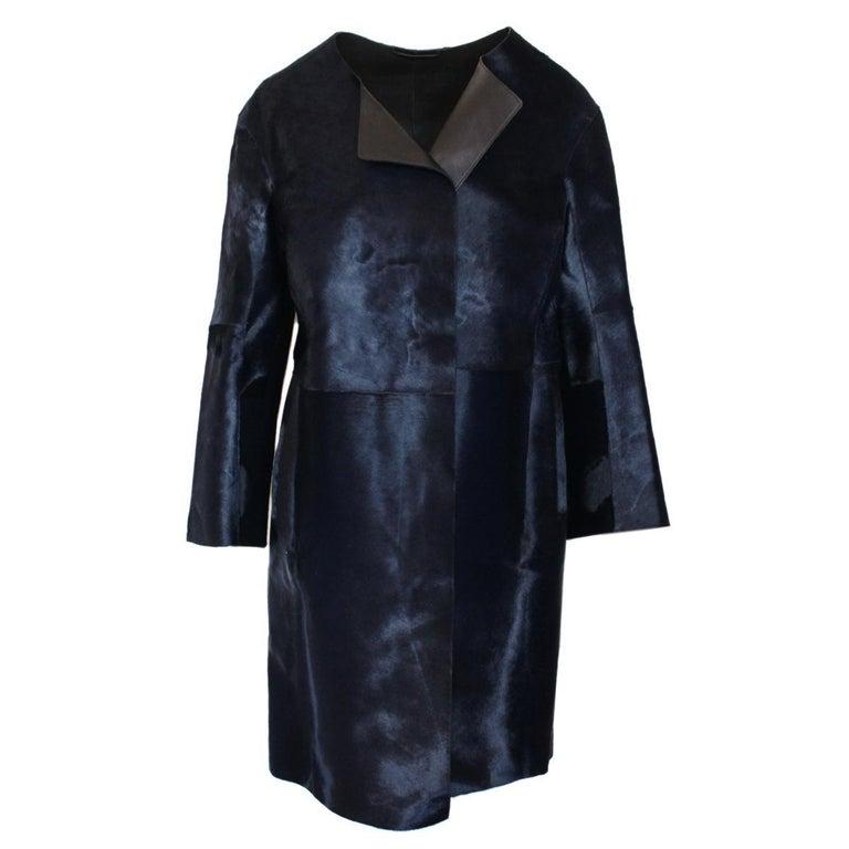 Jil Sander Midnight Blue Calf & Lamb Coat For Sale