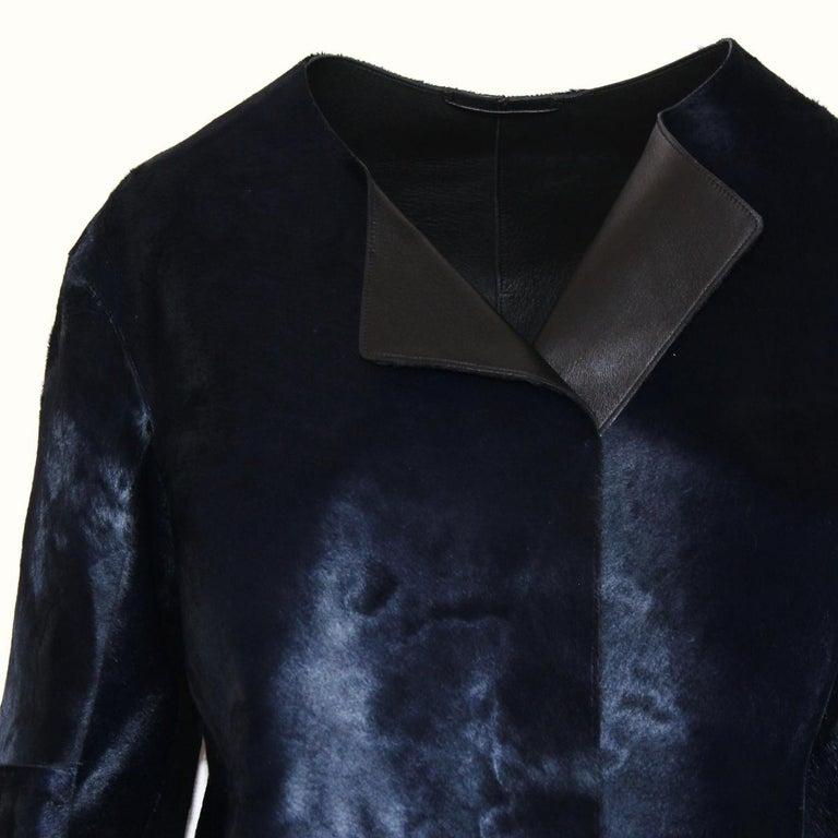 Black Jil Sander Midnight Blue Calf & Lamb Coat For Sale