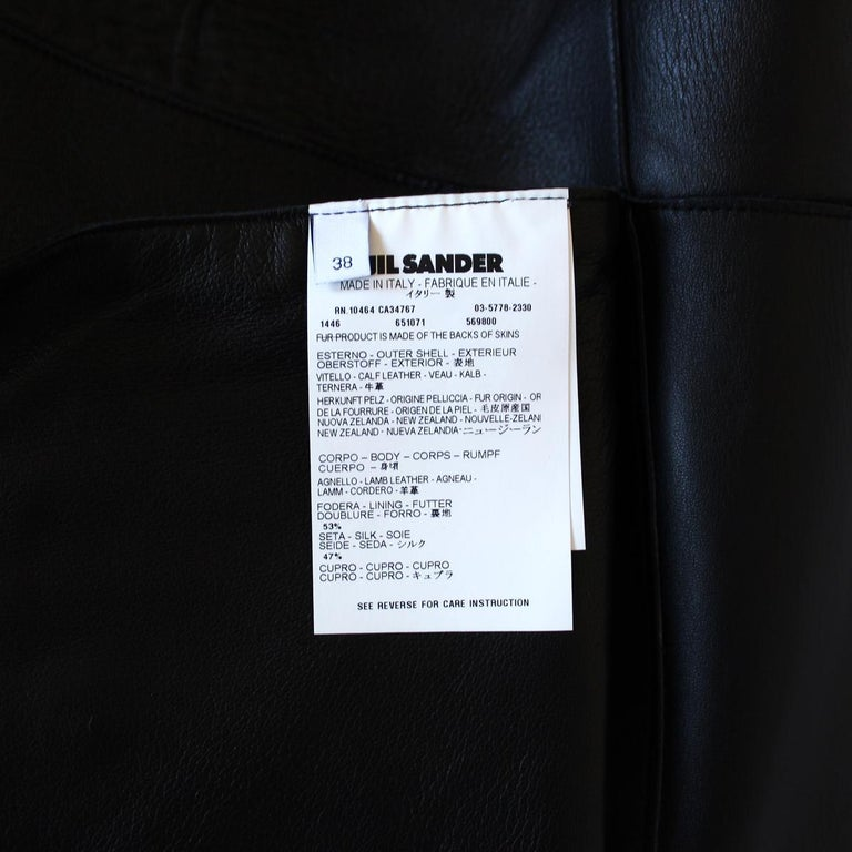 Women's Jil Sander Midnight Blue Calf & Lamb Coat For Sale