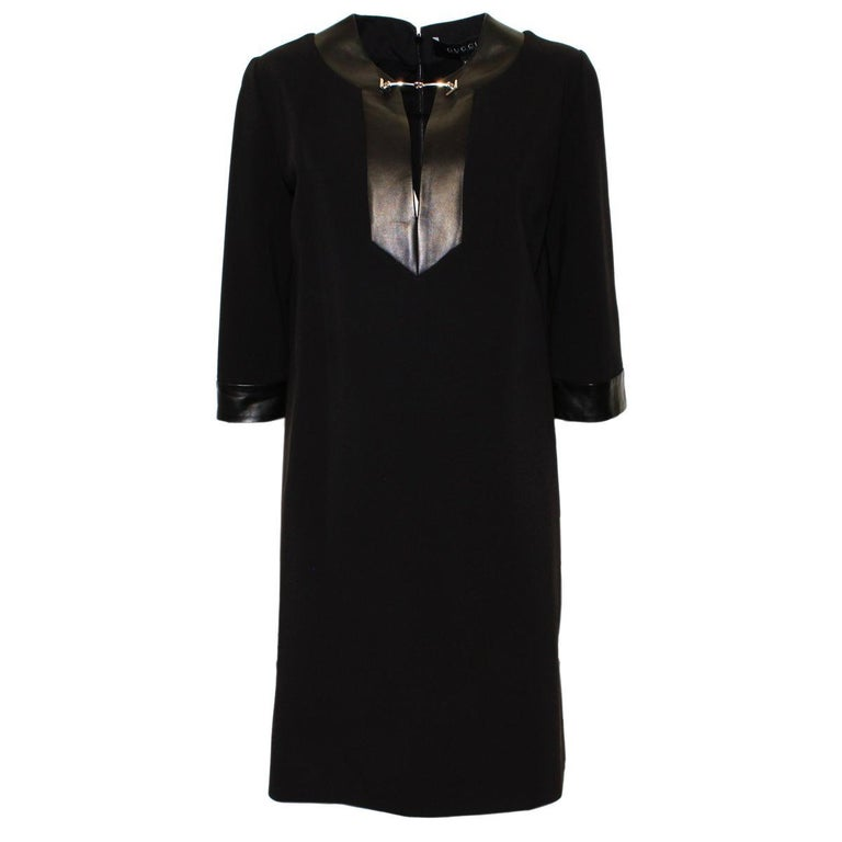 623d0104442 Gucci Black Dress With Leather Inserts M For Sale at 1stdibs