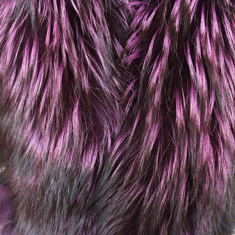 Black De Nicola Roma Purple Fox Fur Collar  For Sale