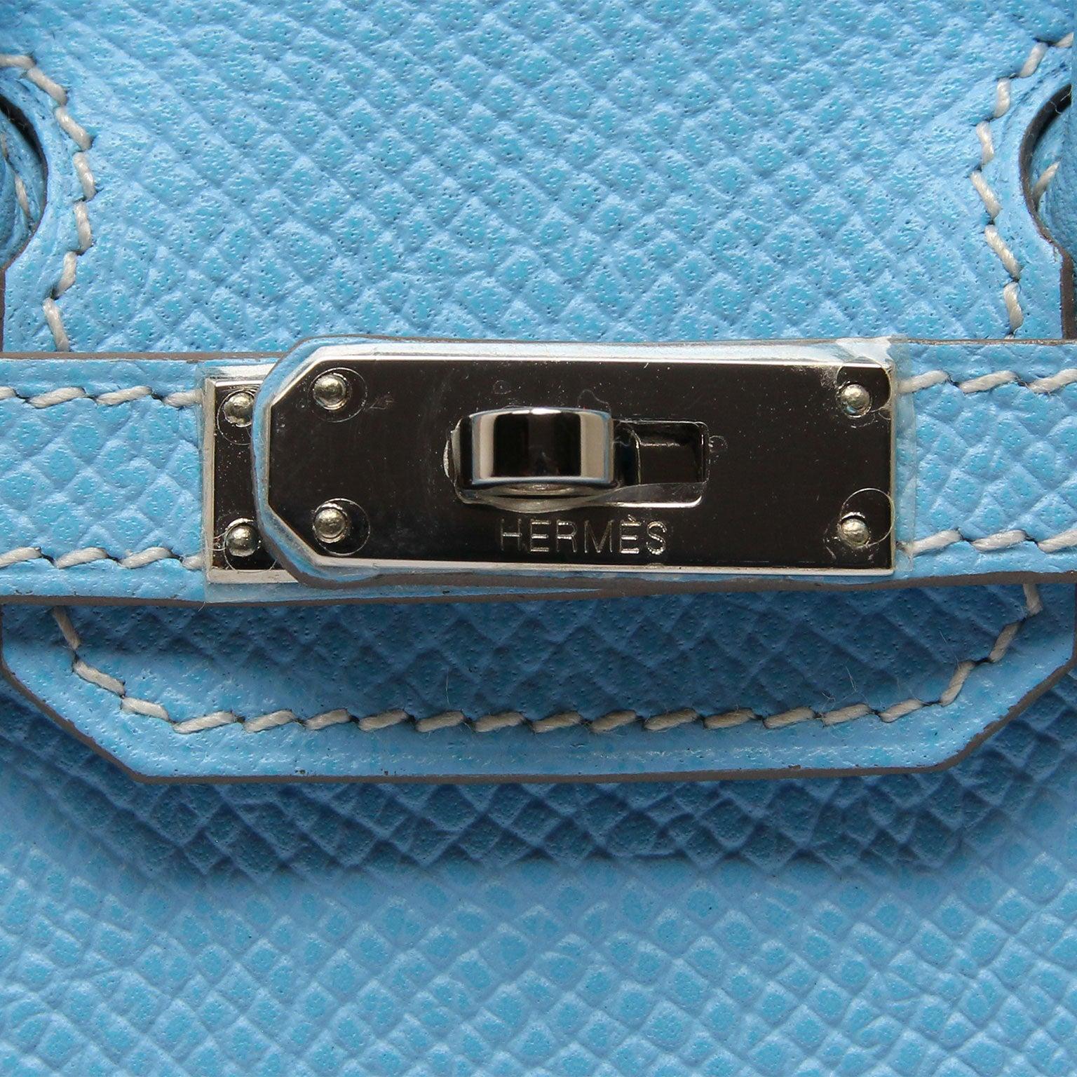 5ec9d481a69 Hermes Tiny Birkin Blue Celeste Epsom Palladium Hardware at 1stdibs