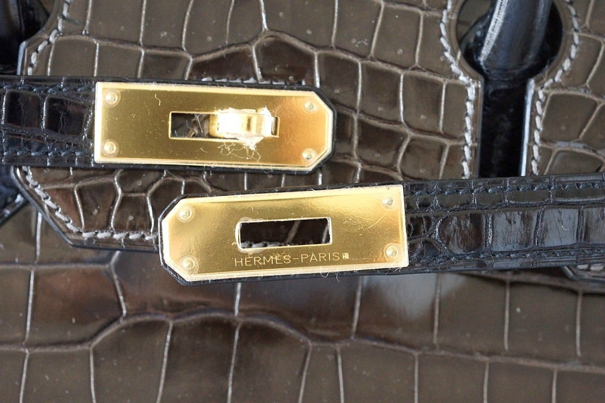 HERMES BIRKIN 35 Bag Porosus Crocodile Elephant Gray Black gold ...