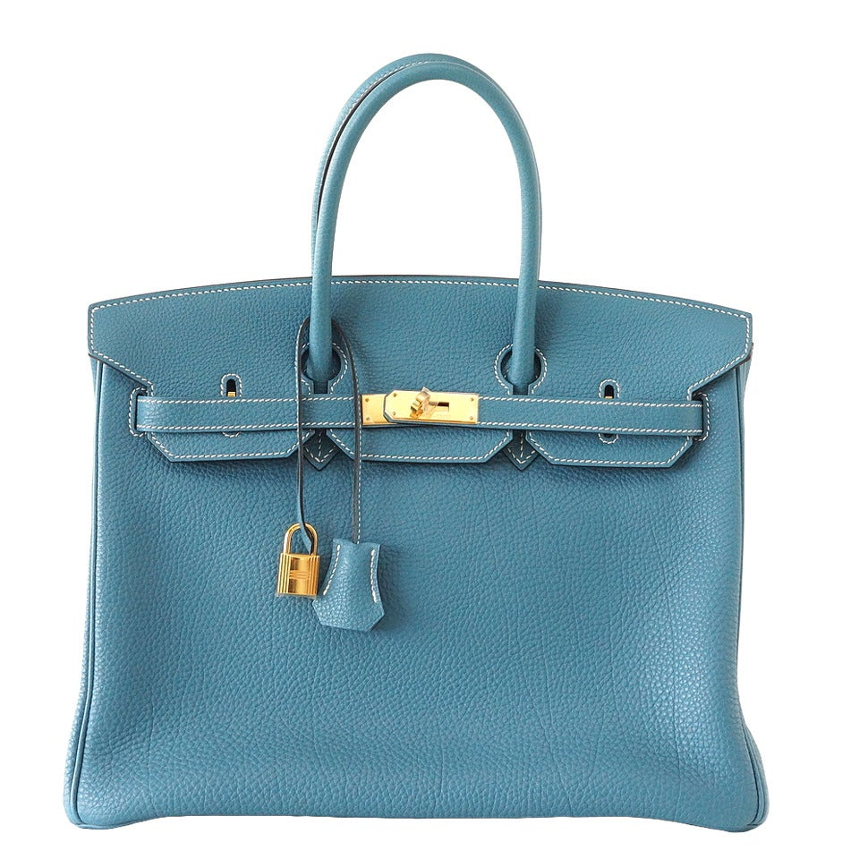 Hermes Birkin 35 Bag Iconic Blue Jean Togo Gold Hardware Rare