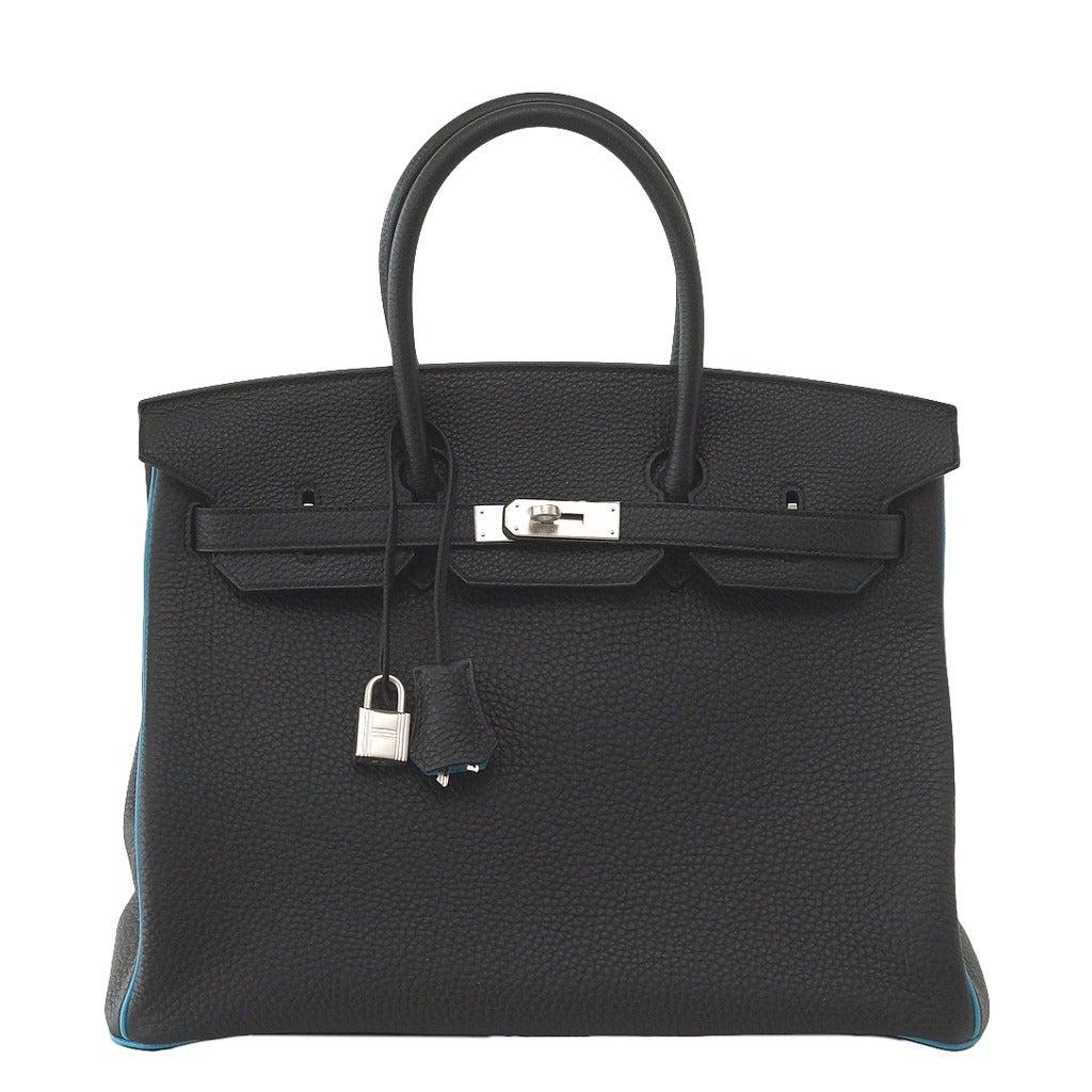 Hermes Birkin 35 Bag Black Turquoise Bi Color HSS Brushed Palladium