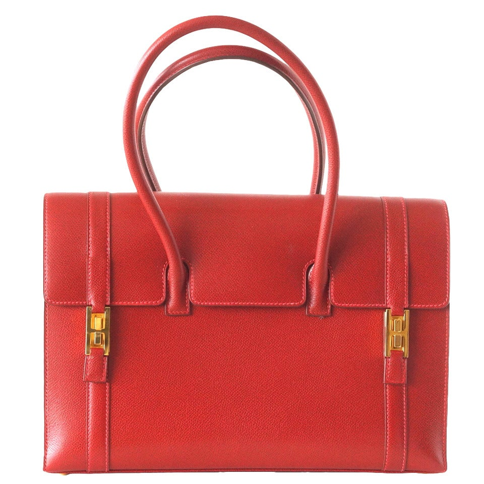 Hermes Drag Bag 32 Vintage Rouge Vif Red Gold Hardware Rare