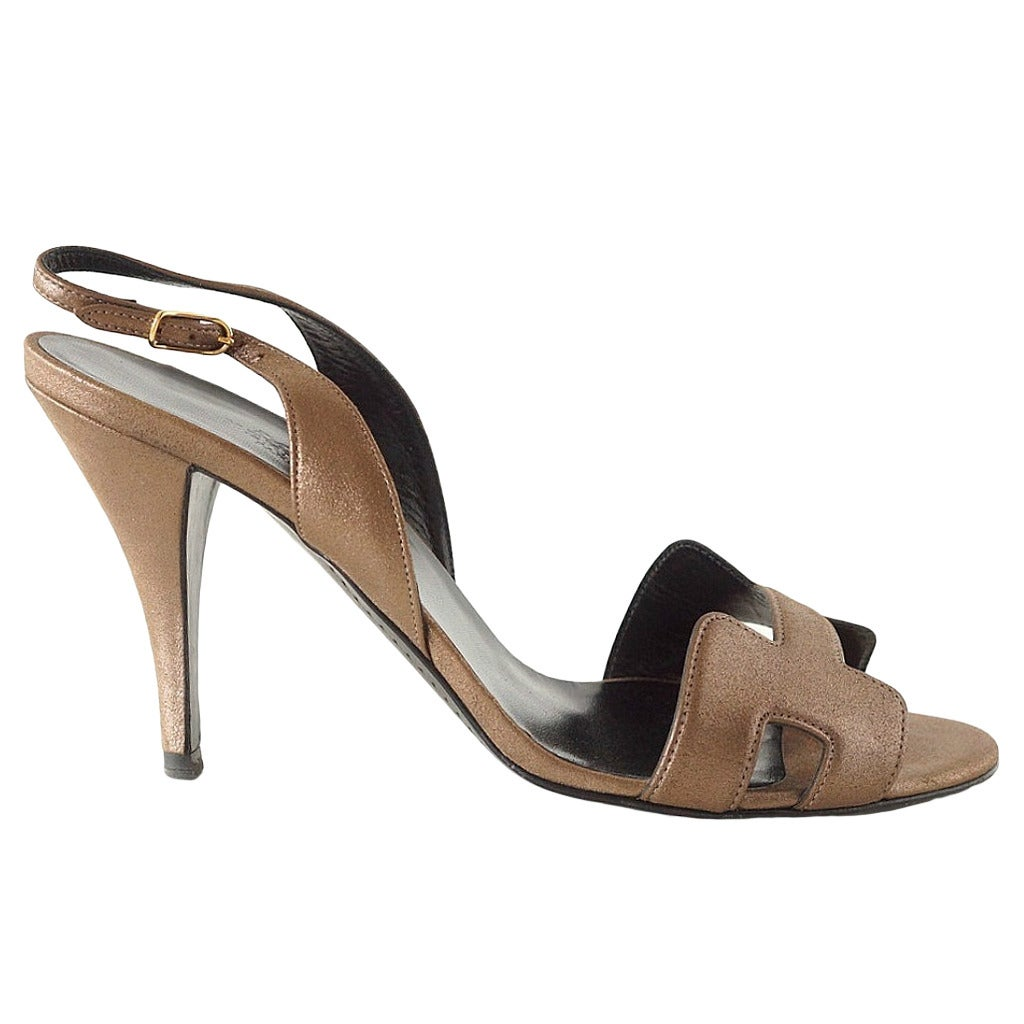 HERMES shoe subtle metallic bronze ORAN 40 with box  1