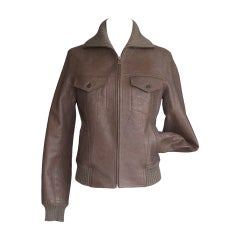 Hermes Jacket Taupe Bison Leather Bomber 38 / 4