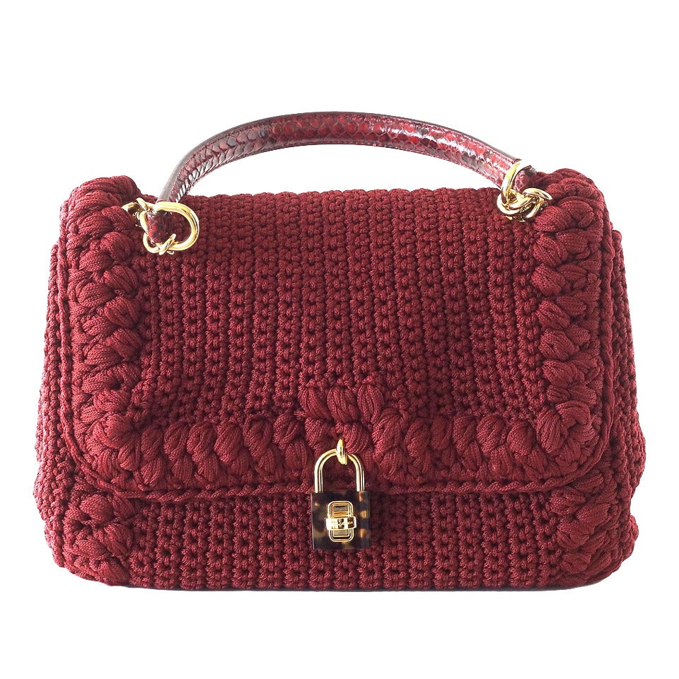 DOLCE&GABBANA bag jewel toned lush crochet snakeskin handle Mint For Sale