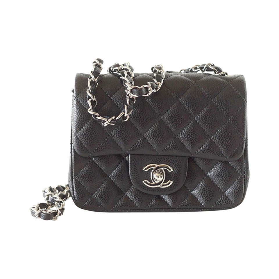 96a61e3fe551 CHANEL bag Mini classic flap black caviar leather silver hardware NWT For  Sale