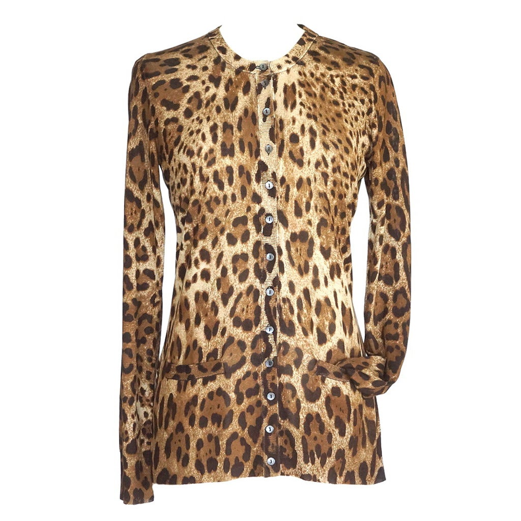 DOLCE&GABBANA sweater leopard silk 2 pocket cardigan fits 8  46 For Sale