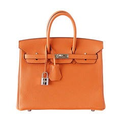 Hermes Birkin 25 Bag Iconic Rare H Orange Treasure Togo Palladium Rare