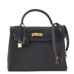 HERMES KELLY Bag 32 Coveted Black Togo Gold Hardware