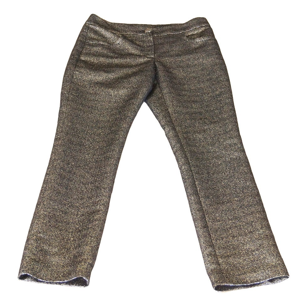 Chanel 12A Metallic Bronzed Gold and Black Tweed Fabulous Pant 38 / 4 New