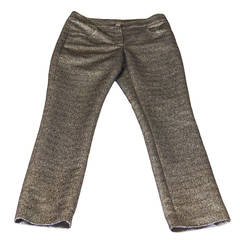 Chanel 12A Metallic Bronzed Gold and Black Tweed Fabulous Pant 38 4 New