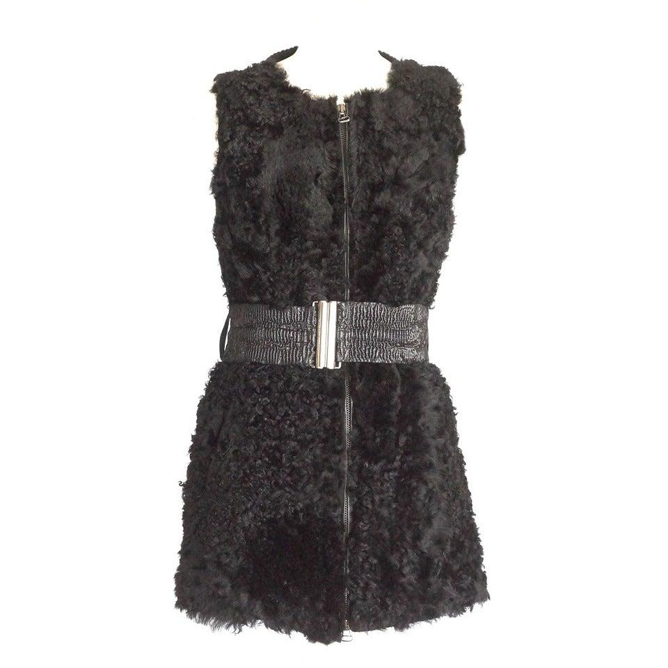 PIERRE BALMAIN Vest Black Lambskin 40 / 6 nwt 1