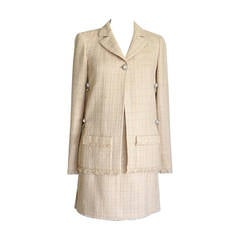CHANEL 10P Skirt Suit Nude Unique Details 38 / 6 nwt