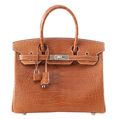 Hermes Birkin 30 Bag Matte Fauve Barenia Alligator Very rare