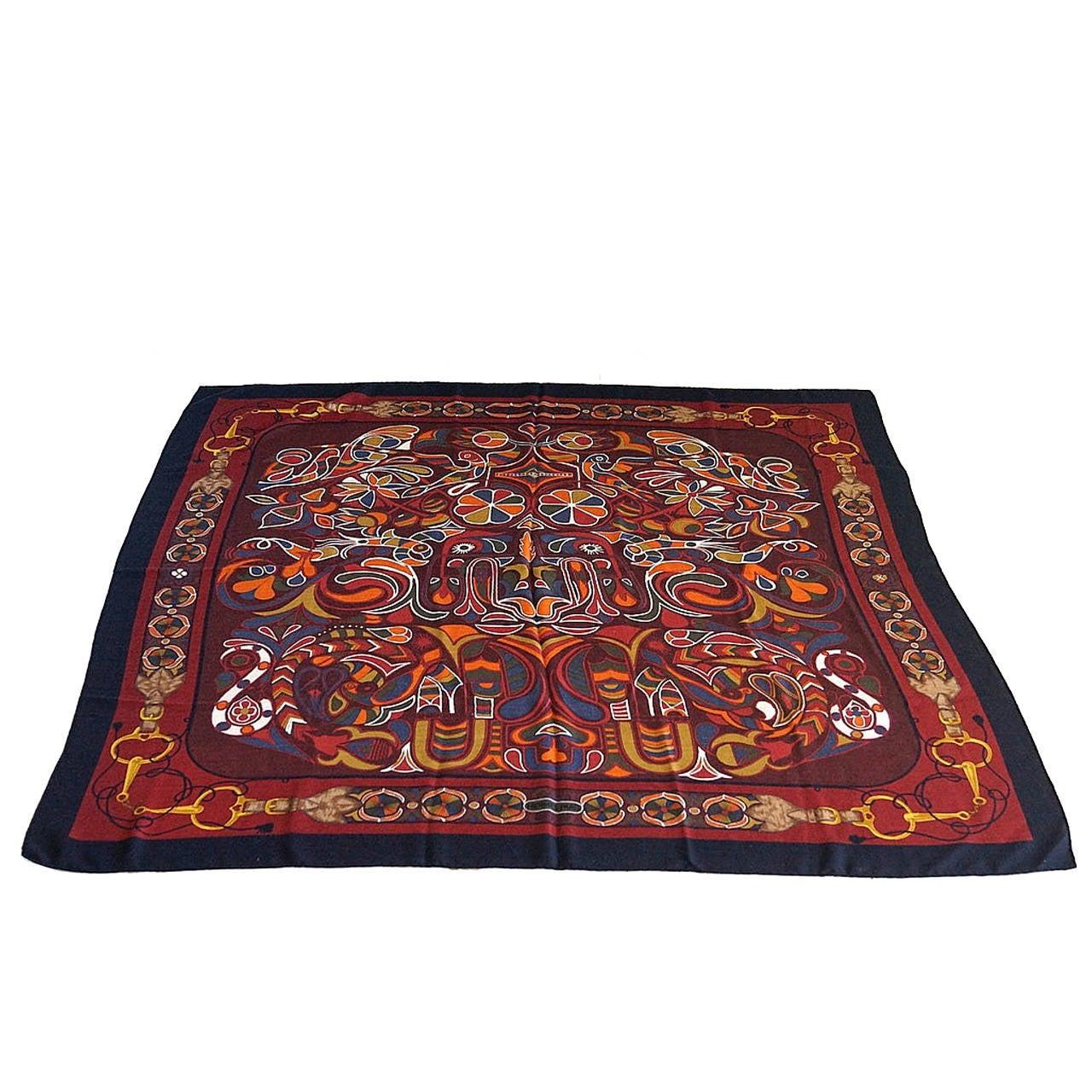 Hermes Scarf Shawl Folklore Motif Rich Color and Design Cashmere Silk Vintage