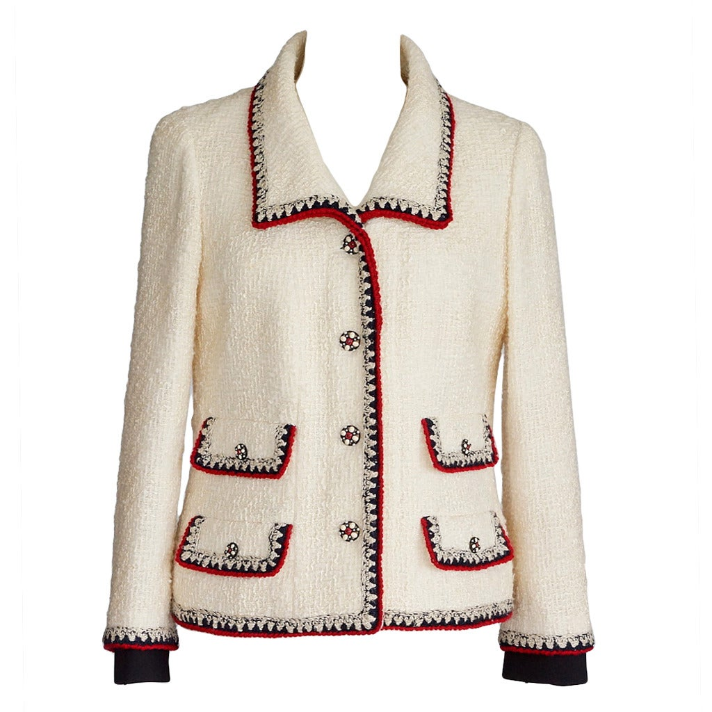 Chanel Jacket Important Winter White Boucle Red And Blue