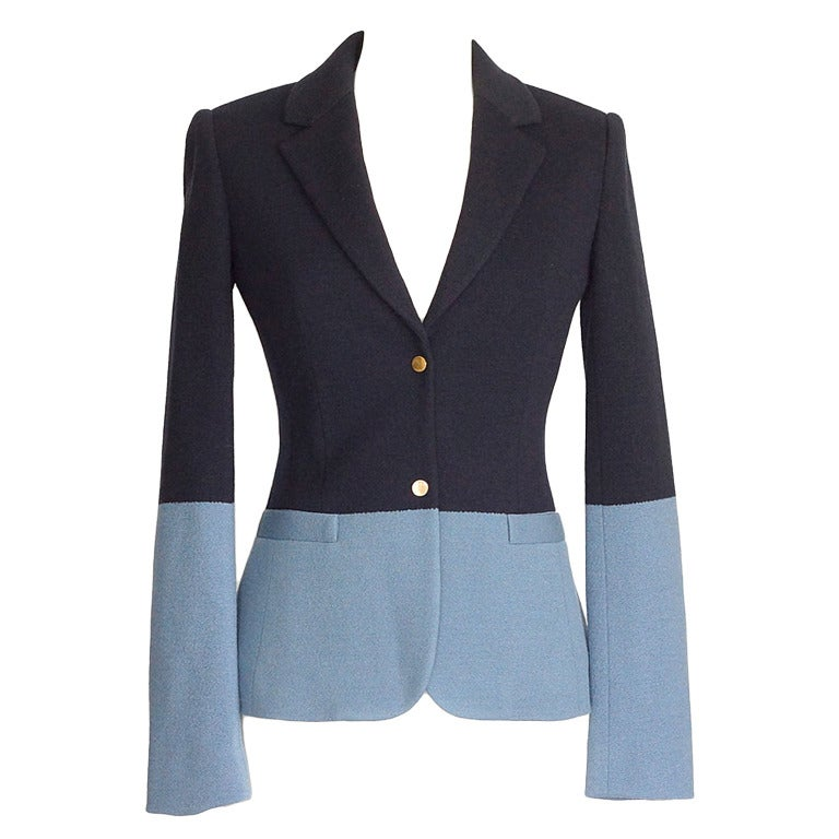 The Row Jacket Rich Navy and Slate Blue Single Breast 4  For Sale