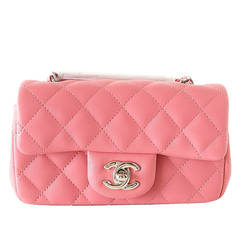 Chanel Bag Coveted Mini Flap Rectangular Rose Pink Lambskin new