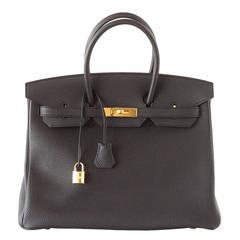HERMES BIRKIN 35 Bag coveted Jet BLACK Togo Gold hardware
