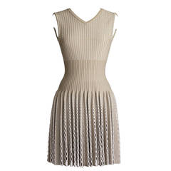 Azzedine Alaïa Dress Runway Perforated Pleated Nude Taupe Spring 2014 38 nwt
