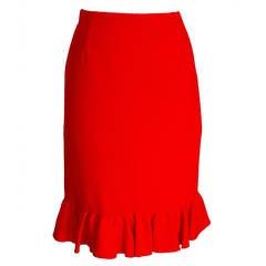 Valentino Skirt Signature Red Rear Flirty Ruffled Retail 8 New