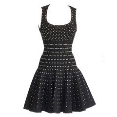 Azzedine Alaia Dress Black Silver Detail Full Skirt 40 / 6  nwt Striking