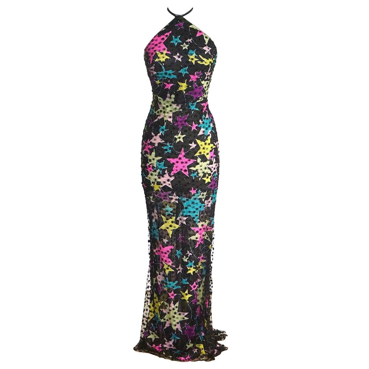 GIANNI VERSACE Couture Vintage halter dress 1990s' VIBRANT 40 / 4  For Sale