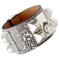 Hermes CDC Collier de Chien Ombre Lizard Cuff Bracelet S New