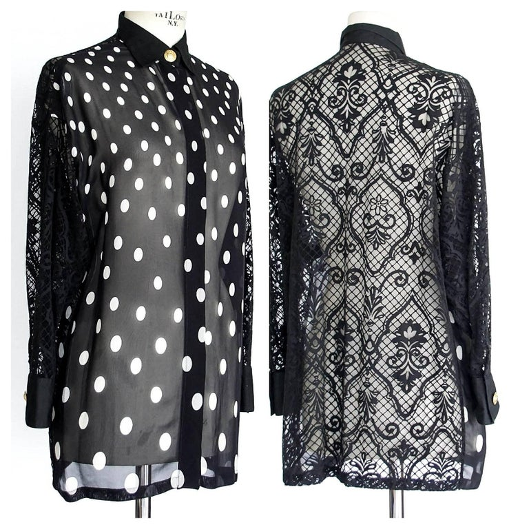Gianni Versace Couture Top Black and White Polka Dot Lace Back  38 / 4 2