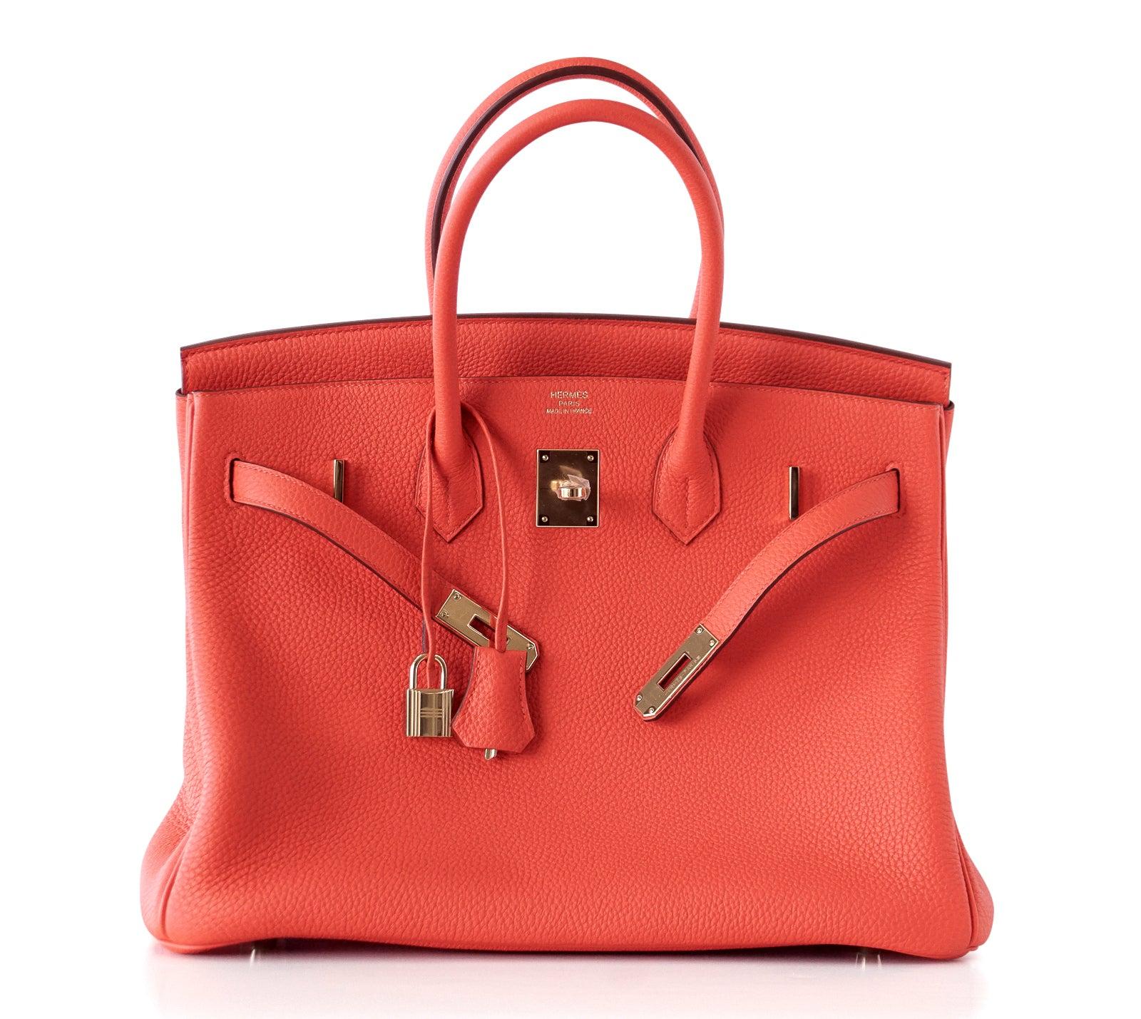 Hermes Vivid Capucine Red Togo Gold Hardware Birkin 35 Bag For Sale at  1stdibs 704337f85b65d