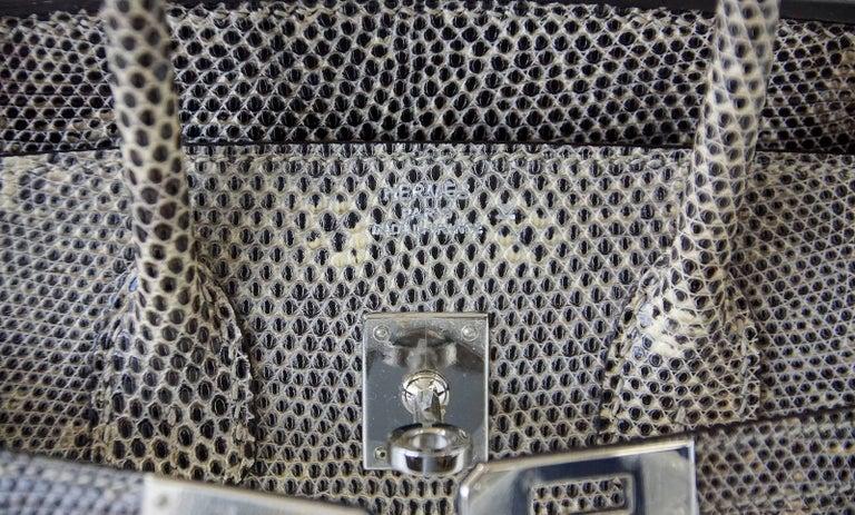 Hermes Ombre Lizard Palladium Hardware Birkin 25 Bag  In New Condition For Sale In Miami, FL